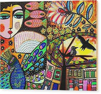 -sunset Peacock Goddess Wood Print