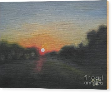 Sunset Road Wood Print by Jindra Noewi