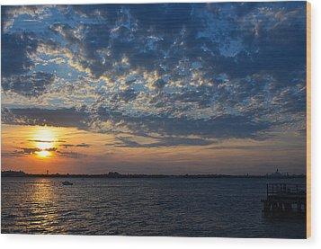 Wood Print featuring the photograph Sunset Rockaway Point Pier by Maureen E Ritter