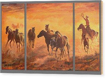 Sunset Run Triptych Wood Print by Jana Goode