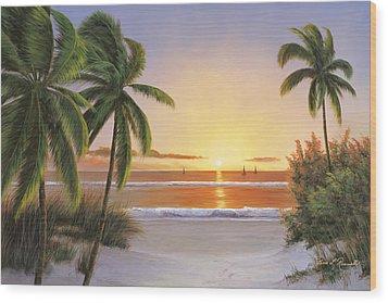 Sunset Sail Wood Print by Diane Romanello