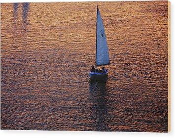 Sunset Sailing Wood Print by Rick Berk