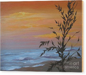 Wood Print featuring the painting Sunset Sea Oats by Gretchen Allen