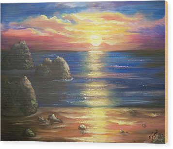 Sunset Seascape Wood Print by Joni McPherson