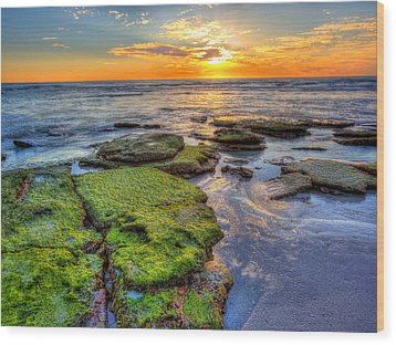 Sunset Siesta Key  Wood Print by Jenny Ellen Photography