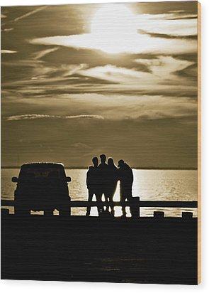 Sunset Silhouette Wood Print by Vicki Jauron