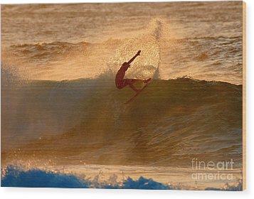 Sunset Slash Wood Print by Paul Topp
