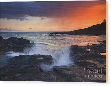 Sunset Storm Passing Wood Print by Mike  Dawson