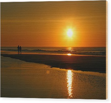 Wood Print featuring the photograph Sunset Stroll by Mark J Seefeldt