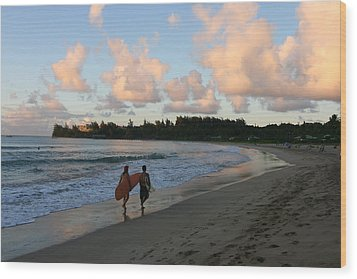 Sunset Surf Wood Print by Lennie Green