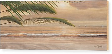 Sunset Surf Panoramic Wood Print by Diane Romanello
