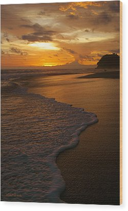 Sunset Surf Playa Hermosa Costa Rica Wood Print by Michelle Wiarda