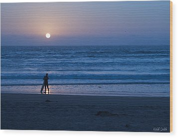 Sunset Surfer Wood Print by Heidi Smith