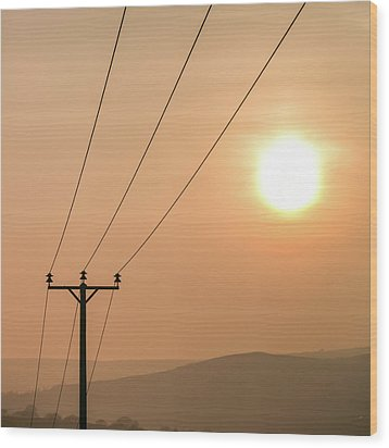 Sunset Telecoms Wood Print by Peter Chadwick LRPS