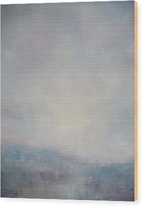 Sunset Through The Mist Over Stenbury Down Wood Print by Alan Daysh