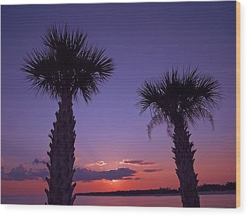 Wood Print featuring the photograph Sunset Through The Palms by Brian Wright
