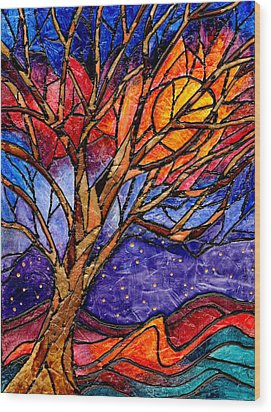 Sunset Tree Abstract Wood Print by Elaine Hodges