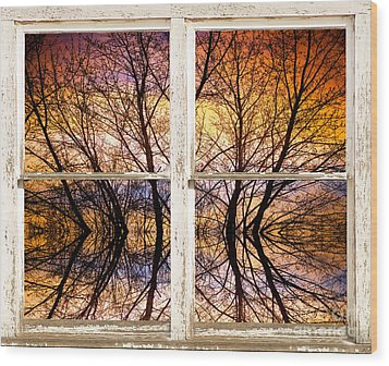Sunset Tree Silhouette Colorful Abstract Picture Window View Wood Print by James BO  Insogna