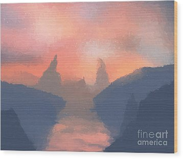 Sunset Valley  Wood Print by Pixel  Chimp