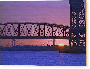 Wood Print featuring the photograph Sunset Verrazano Under Marine Park Bridge by Maureen E Ritter