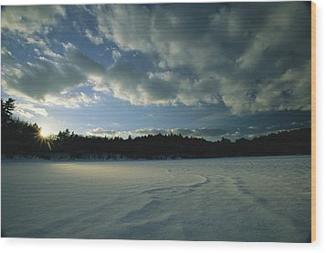 Sunset Viewed From The Frozen Surface Wood Print by Tim Laman