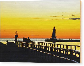 Wood Print featuring the photograph Sunset Walk by Randall  Cogle