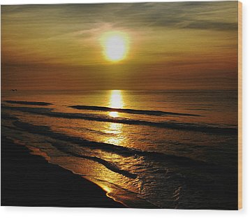 Sunset Waves Wood Print by Colin Clancy
