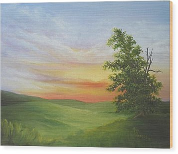Sunset With A Tree Wood Print by Mary Rogers