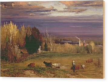 Sunshine After Storm Or Sunset Wood Print by George Snr Inness