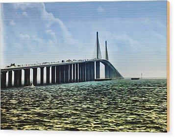 Sunshine Skyway Bridge - Tampa Bay Wood Print by Bill Cannon