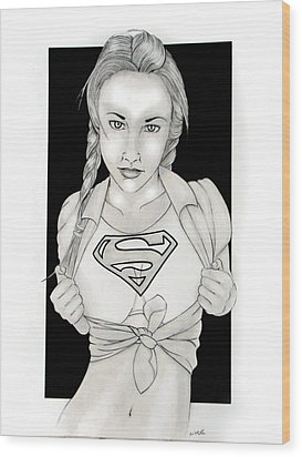 Supergirl Wood Print by Nathan  Miller