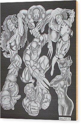 Superheroes Wood Print by Rick Hill