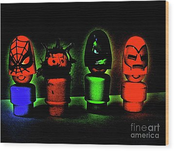 Superheroes Wood Print by Ricky Sencion