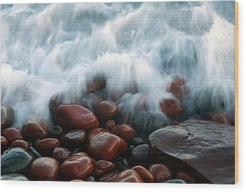 Superior On The Rocks Wood Print by Bill Morgenstern