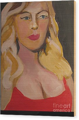 Superstar In Red Wood Print by Diana Riukas
