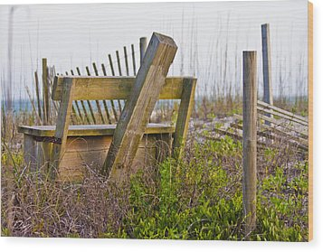 Surf City Chair Wood Print by Betsy Knapp