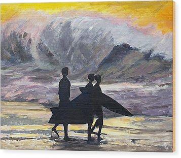 Surf Riders Wood Print