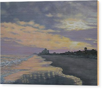 Wood Print featuring the painting Surf Sunset Reflections by Kathleen McDermott