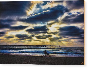 Surfer At Pacific Beach Wood Print by Chris Lord
