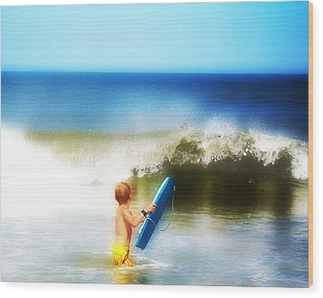 Surfer Boy Wood Print by Trudy Wilkerson