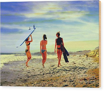 Surfer Girls  Wood Print by Kevin Moore