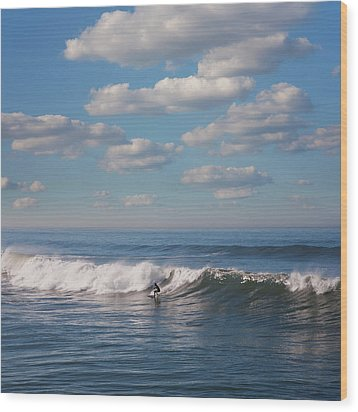Surfer Riding Big Wave Wood Print by Maciej Toporowicz, NYC