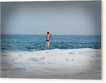 Wood Print featuring the photograph Surfer Waiting For Next Wave by Ann Murphy