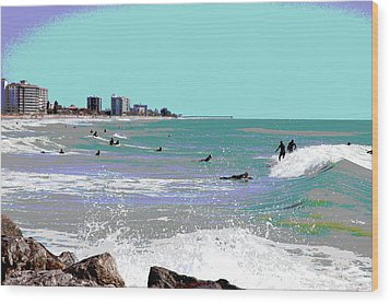 Wood Print featuring the mixed media Surfers At Venice Beach by Charles Shoup