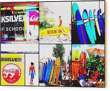 Surfing Bali Beaches Wood Print by Funkpix Photo Hunter