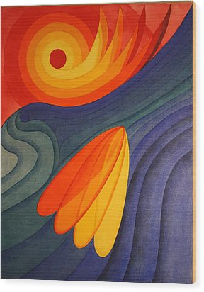 Wood Print featuring the painting Surfing Symbolism by Paul Amaranto
