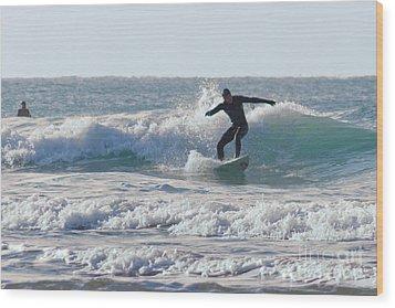 Surfing The Atlantic Wood Print by Brian Roscorla