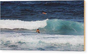 Surfs Up Wood Print by Elizabeth  Doran