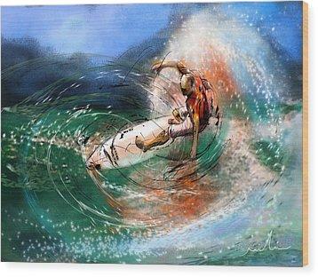 Surfscape 03 Wood Print by Miki De Goodaboom