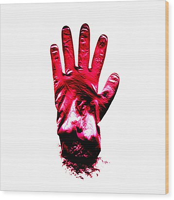 Surgical Glove Wood Print by Kevin Curtis